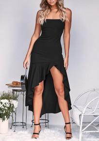 Maxi dress arricciatura irregolare alto-basso stile senza spalline nero