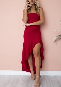 Red Ruffle Irregular High-low Spaghetti Strap Backless Fashion Maxi Dress