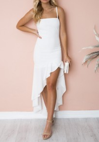 White Ruffle Irregular High-low Spaghetti Strap Backless Fashion Maxi Dress