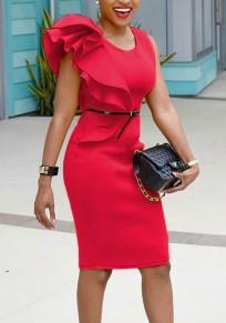 Vestido midi volantes hombros asimétricos tallas grandes fiesta elegante de talle alto rojo