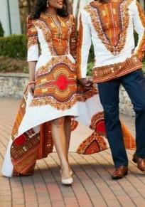 Orange Tribal Drucken Falten Schwalbenschwanz Hoch niedrig V-Ausschnitt hoch taillierte Elegante Partei Maxi-Kleid