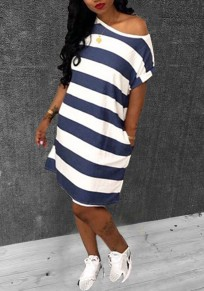 White-Blue Striped Pockets One-shoulder Short Sleeve Oversized Casual Midi Dress