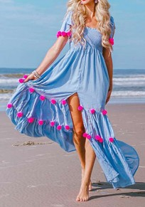 Light Blue Side Slit Fur Ball High Waisted Flowy Bohemian Party Maxi Dress