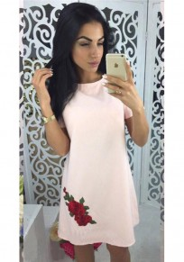Pink Patchwork Embroidery Round Neck Short Sleeve Elegant Mini Dress
