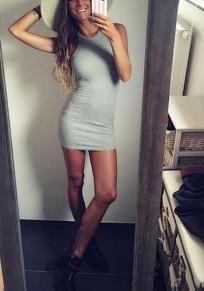 Grey Condole Belt Round Neck Sleeveless Fashion Mini Dress