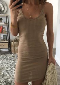 Khaki Condole Belt V-neck Sleeveless Casual Mini Dress