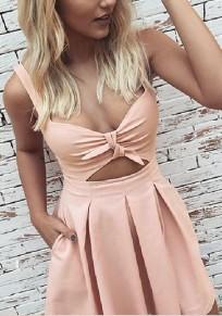 Pink Cut Out Shoulder-Strap Draped Fashion Mini Dress