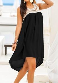 Schwarz Weiß Cut Out Rundhals Ärmellose Beiläufige Vokuhila Midikleid Sommerkleid Strandkleid