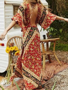Red Floral Backless Slit Side Bohemian Halter Neck Maxi Dress