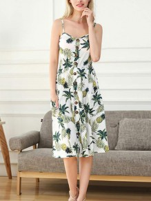 White Floral Print Pockets Buttons Cut Out Midi Dress