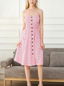 Pink Floral Print Pockets Buttons Cut Out Midi Dress
