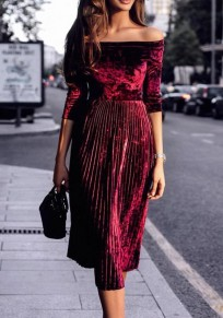 Wine Red Patchwork Ruffle Boat Neck