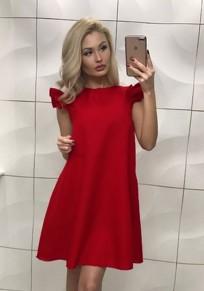 Rot Rüschen ärmellos Süß Ausgehen Partei Minikleid