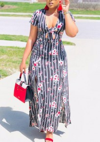 Grey Floral Striped Print Draped Sashes Side Slit Deep V-neck Casual Maxi Dress
