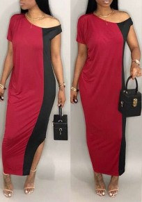 Red Color Block Asymmetric Shoulder Slit Casual Maxi Dress