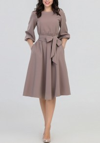 Khaki Draped Sashes 3/4 Sleeve High Waisted Banquet Elegant Party Midi Dress