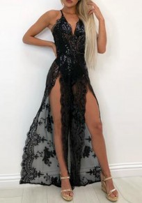 Black Lace Spaghetti Straps Deep V-neck Slit Elegant Party Maxi Dress