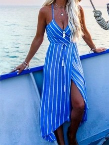 Blue Striped Spaghetti Straps Backless Plunging Neckline Sweet Midi Dress