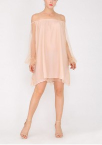 Apricot Patchwork Grenadine Off Shoulder Going out Mini Dress