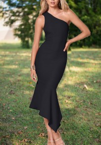 Black Irregular Cut Out Ruffle Others Elegant Party Maxi Dress