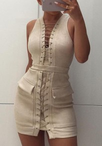 Beige Pockets Lace-Up Club Evening Cocktail Party Casual Mini Dress