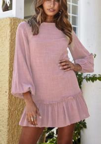 Rosa Knöpfe Rüschen ausgeschnitten Rundhals Mode Minikleid