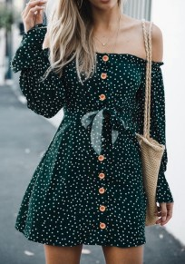 Green Polka Dot Print Single Breasted Off Shoulder Backless Fashion Mini Dress