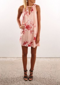 Pink Floral Print Cut Out Round Neck Sweet Mini Dress