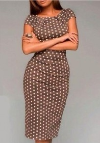 Coffee Polka Dot Print Round Neck Short Sleeve Fashion Midi Dress