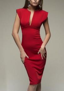 Rot Ebene Ausgeschnittenes ärmelloses Midi-Kleid