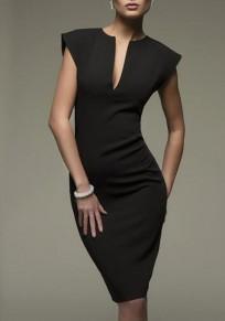 Black Plain Cut Out Sleeveless Fashion Midi Dress