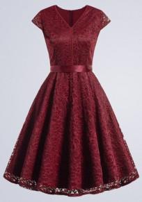 Rot Spitze Plissierter Schleife Gürtel V-Ausschnitt Kurzarm Vintage Midikleid Cocktailkleid Partykleid