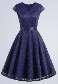 Blaue Spitze Plissierter Schleife Gürtel V-Ausschnitt Kurzarm Vintage Midikleid Cocktailkleid Partykleid