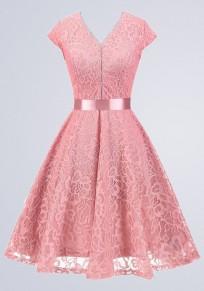 Pink Plain Lace Draped Sashes V-neck Short Sleeve Elegant Midi Dress
