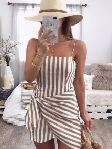As Showed Striped Condole Belt Bow Square Neck Fashion Mini Dress