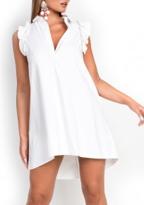 White Buttons Ruffle Turndown Collar Fashion Mini Dress