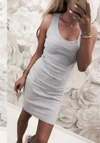 Grey Round Neck Sleeveless Fashion Mini Dress