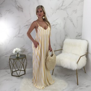 Yellow White Striped Spaghetti Strap Pockets Backless Slouchy U-neck Casual Maxi Dress