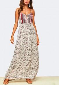 Vestido largo correa de espagueti con correa floral condole beige