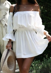 White Draped Boat Neck Long Sleeve Fashion Mini Dress