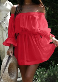 Red Draped Boat Neck Long Sleeve Fashion Mini Dress