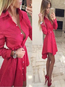 Red Polka Dot Buttons Long Sleeve Fashion Mini Dress
