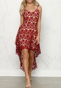 Red Patchwork Condole Belt Lace Cut Out V-neck Fashion Maxi Dress