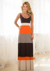 Orange Color Block Print Spaghetti Strap Party Maxi Dress
