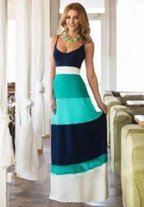 Blue Color Block Print Spaghetti Strap Party Maxi Dress