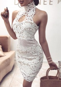 White Lace Zipper Round Neck Sleeveless Fashion Mini Dress