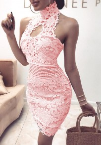 Pink Lace Zipper Round Neck Sleeveless Fashion Mini Dress