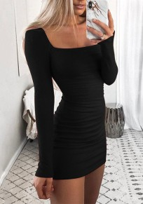 Black Round Neck Long Sleeve Fashion Mini Dress
