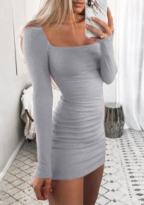 Grey Round Neck Long Sleeve Fashion Mini Dress