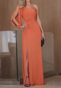 Orange Asymmetric Shoulder Pleated Long Sleeve Fashion Maxi Dress